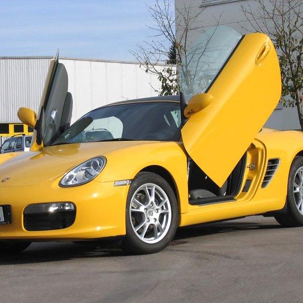 LSD Doors® - Lambo Vertical Doors Kit & LSD Doors® - Porsche Cayman 2014-2016 Lambo Vertical Doors Kit