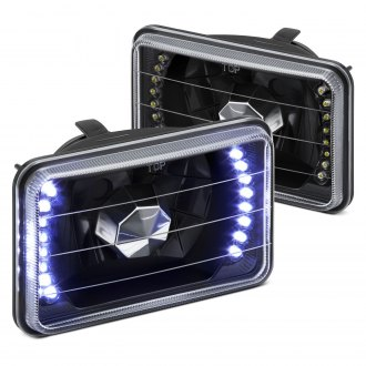 "Lumen® - 4x6"" Rectangular Black Diamond Cut Crystal Headlights with LEDs"
