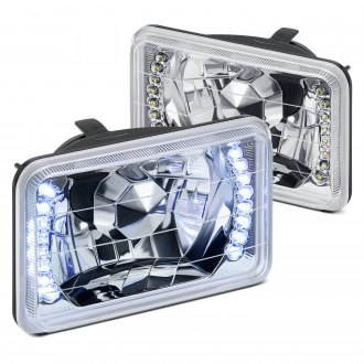"Lumen® - 4x6"" Rectangular Chrome Diamond Cut Crystal Headlights with LEDs"