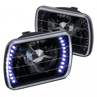 "Lumen® - 7x6"" Rectangular Black Diamond Cut LED Halo Crystal Headlights"