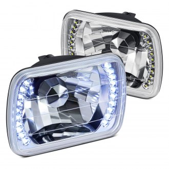 "Lumen® - 7x6"" Rectangular Chrome Diamond Cut LED Halo Crystal Headlights"