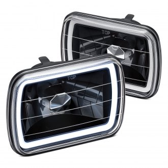 "Lumen® - 7x6"" Rectangular Black CCFL Halo Headlights"