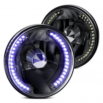 "Lumen® - 7"" Round Black LED Halo Headlights"