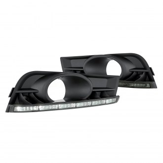 Lumen® - Black Fog Light Covers with Smoke LED DRL