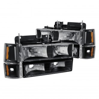 Lumen® - Black Euro Headlights with Bumper and Corner Lights