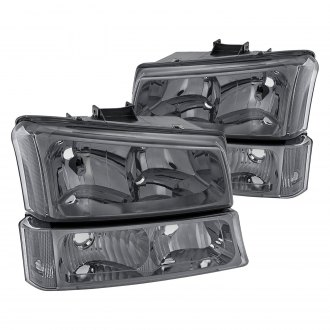 Lumen® - Chrome/Smoke Euro Headlights with Bumper Lights