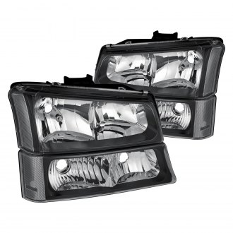 Lumen® - Black Euro Headlights with Bumper Lights