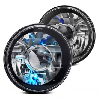 "Lumen® - 7"" Round Black Projector Headlights"