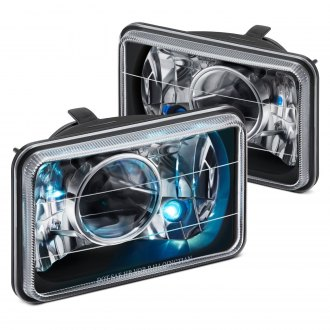 "Lumen® - 4x6"" Rectangular Black Projector Headlights"