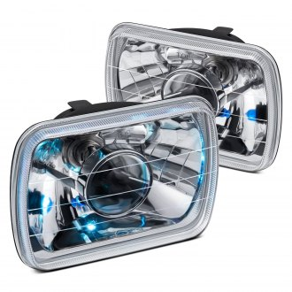 "Lumen® - 7x6"" Rectangular Chrome Projector Headlights"
