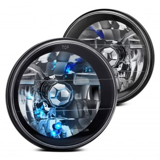 "Lumen® - 7"" Round Black Diamond Crystal Headlights"