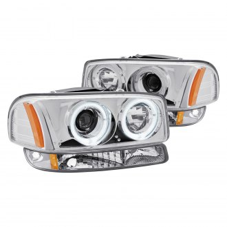 Lumen® - Chrome Dual Halo Projector Headlights with Bumper Lights