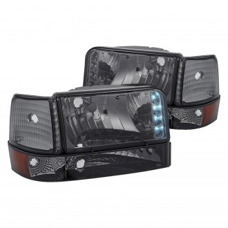 Lumen® - Chrome/Smoke LED Euro Headlights with Bumper and Corner Lights
