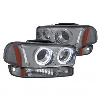 Lumen® - Chrome/Smoke Dual Halo Projector Headlights with Bumper Lights