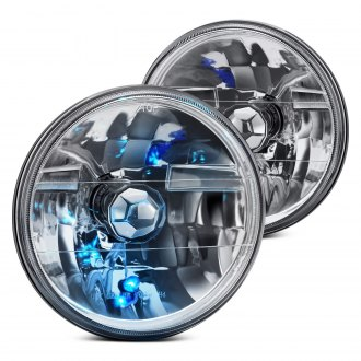 "Lumen® - 7"" Round Chrome Diamond Crystal Headlights"