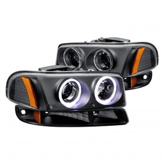 Lumen® - Black Dual Halo Projector Headlights with Bumper Lights