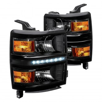 Lumen® - Black Euro Headlights with LED DRL