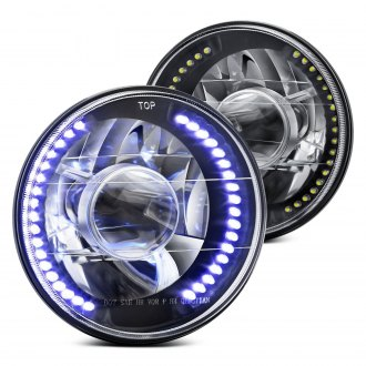 "Lumen® - 7"" Round Black Projector LED Headlights"