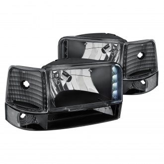 Lumen® - Black LED Euro Headlights with Bumper and Corner Lights