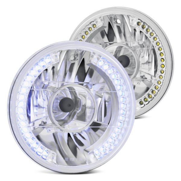 "Lumen® - 7"" Round Chrome LED Halo Projector Headlights"