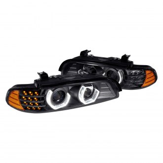 Lumen® - Black 3D Crystal DRL Bar Projector Headlights with LED Turn Signal