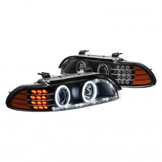 Lumen® - Black Halo Projector Headlights with LED DRL and Turn Signal