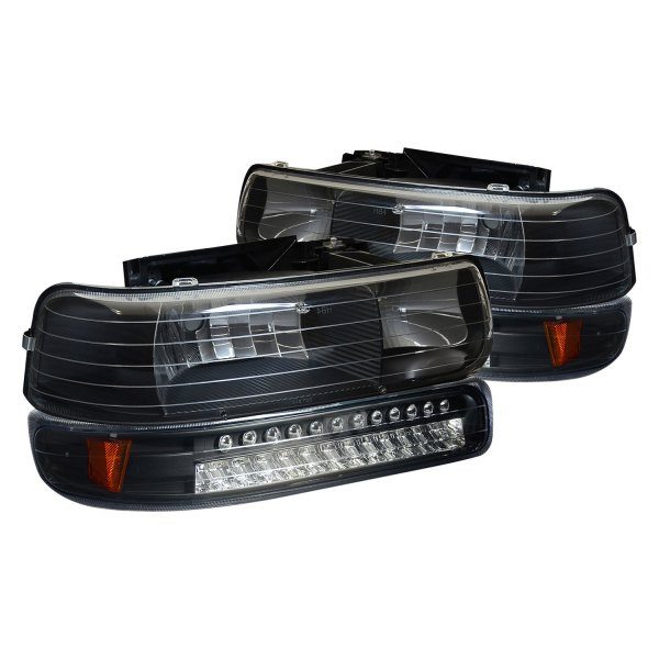 Lumen Chevy Silverado 2002 Black Euro Headlights With Led Bumper Lights