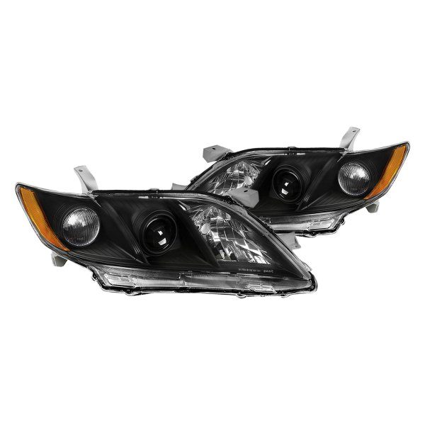 lumen toyota camry 2007 2008 black factory style projector headlights. Black Bedroom Furniture Sets. Home Design Ideas