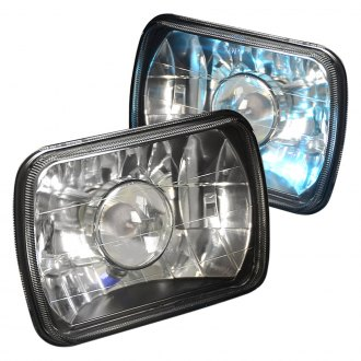 "Lumen® - 7x6"" Rectangular Black Projector Headlights"