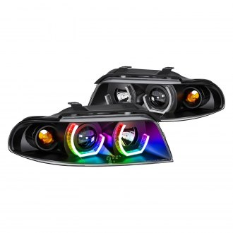 Lumen® - 7 Color Black LED DRL Bar Projector Headlights