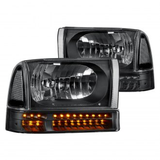 Lumen® - Black Factory Style Headlights with LED Turn Signal/Parking Lights