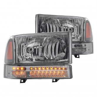 Lumen® - Chrome/Smoke Factory Style Headlights with LED Turn Signal/Parking Lights