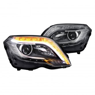Lumen® - Black DRL Bar Projector Headlights with LED Turn Signal