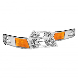 Lumen® - Chrome Euro Headlights with Amber Turn Signal/Corner Lights