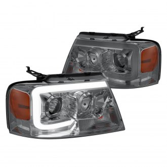 Lumen® - Chrome/Smoke LED DRL Bar Projector Headlights