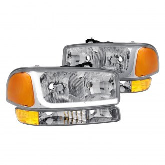 Lumen® - Chrome LED DRL Bar Euro Headlights with Turn Signal/Parking Lights