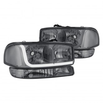 Lumen® - Chrome/Smoke LED DRL Bar Euro Headlights with Turn Signal/Parking Lights