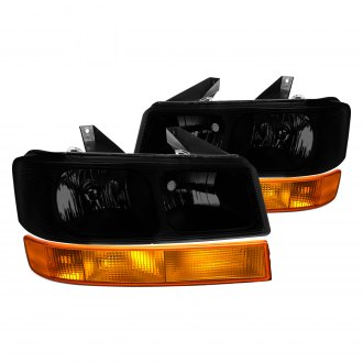 Lumen® - Black/Smoke Factory Style Headlights with Turn Signal/Parking Lights