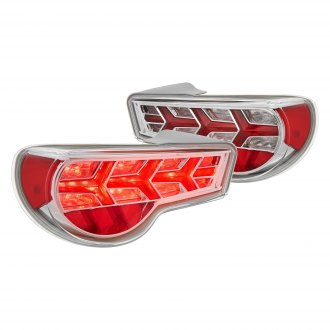 Lumen® - Chrome/Red Sequential Arrow Style Fiber Optic LED Tail Lights