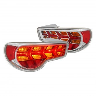 Lumen® - Chrome Red/Amber Sequential Arrow Style Fiber Optic LED Tail Lights