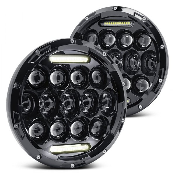 "Lumen® - 7"" Round Black Projector LED Headlights with DRL"