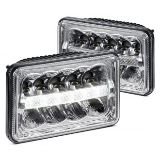 "Lumen® - 4x6"" Rectangular Chrome LED Headlights with DRL"