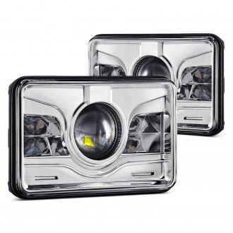 "Lumen® - 4x6"" Rectangular Chrome Projector LED Headlights"