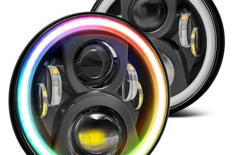 "Lumen® - 7"" Round Black RGB Halo Projector LED Headlights with Bluetooth Control"