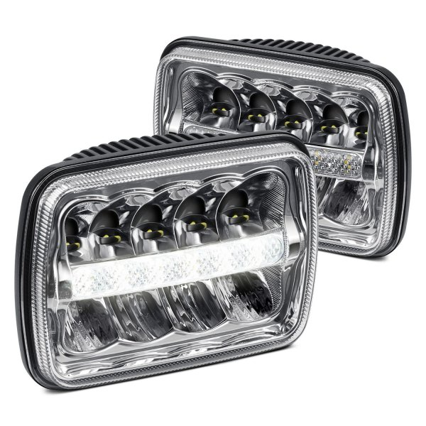 "Lumen® - 7x6"" Rectangular Chrome LED Headlights with DRL"