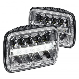 "Lumen® - 7x6"" Rectangular Black LED Headlights with DRL"
