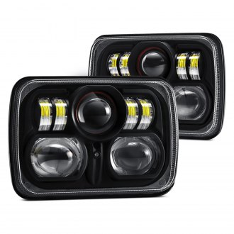 "Lumen® - 7x6"" Rectangular Black Projector LED Headlights with DRL"