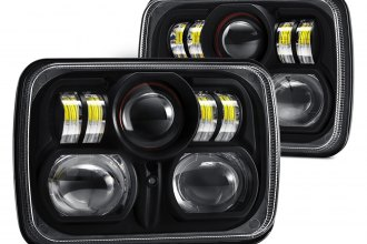 "Lumen® - 7x6"" Rectangular Black Projector LED Headlights"