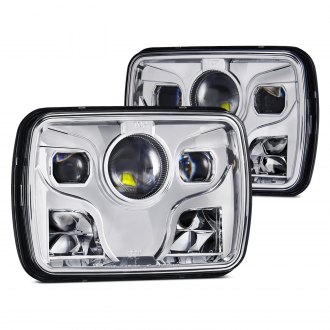 "Lumen® - 7x6"" Rectangular Chrome Projector LED Headlights"
