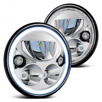 "Lumen® - 7"" Round Chrome Halo LED Headlights"